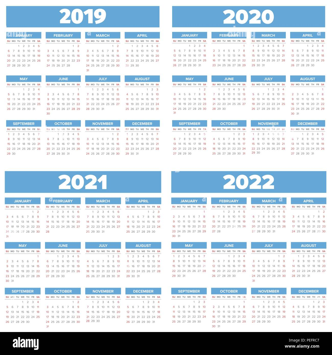 Calendrier 2019 Et 2022 Année 2019 2022 simple calendrier défini, la semaine commence le