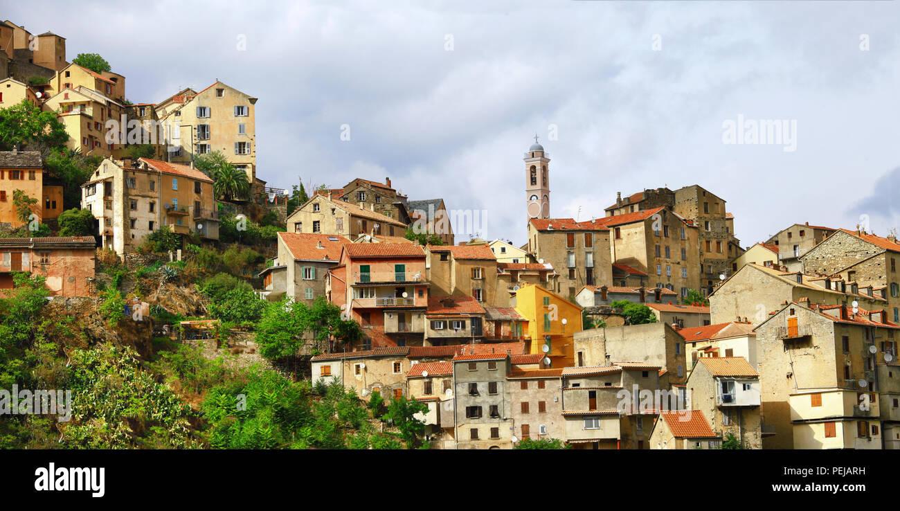 Corte impressionnant village,vue panoramique,Corse,France. Photo Stock