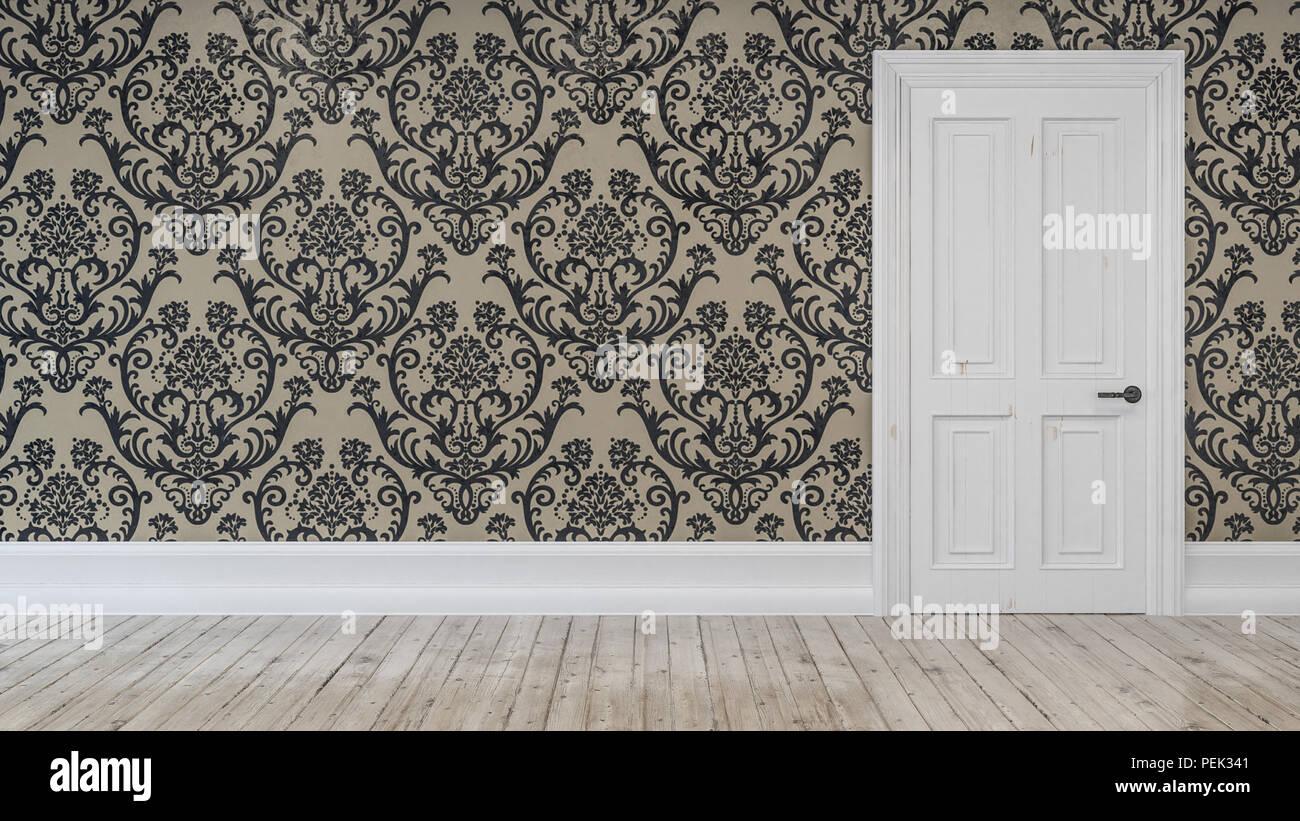 Nettoyer La Porte Blanc Ordinaire Fixes Au Mur Avec Du Papier Peint A Motifs Et Brun Clair Plancher De Bois Rustique Photo Stock Alamy