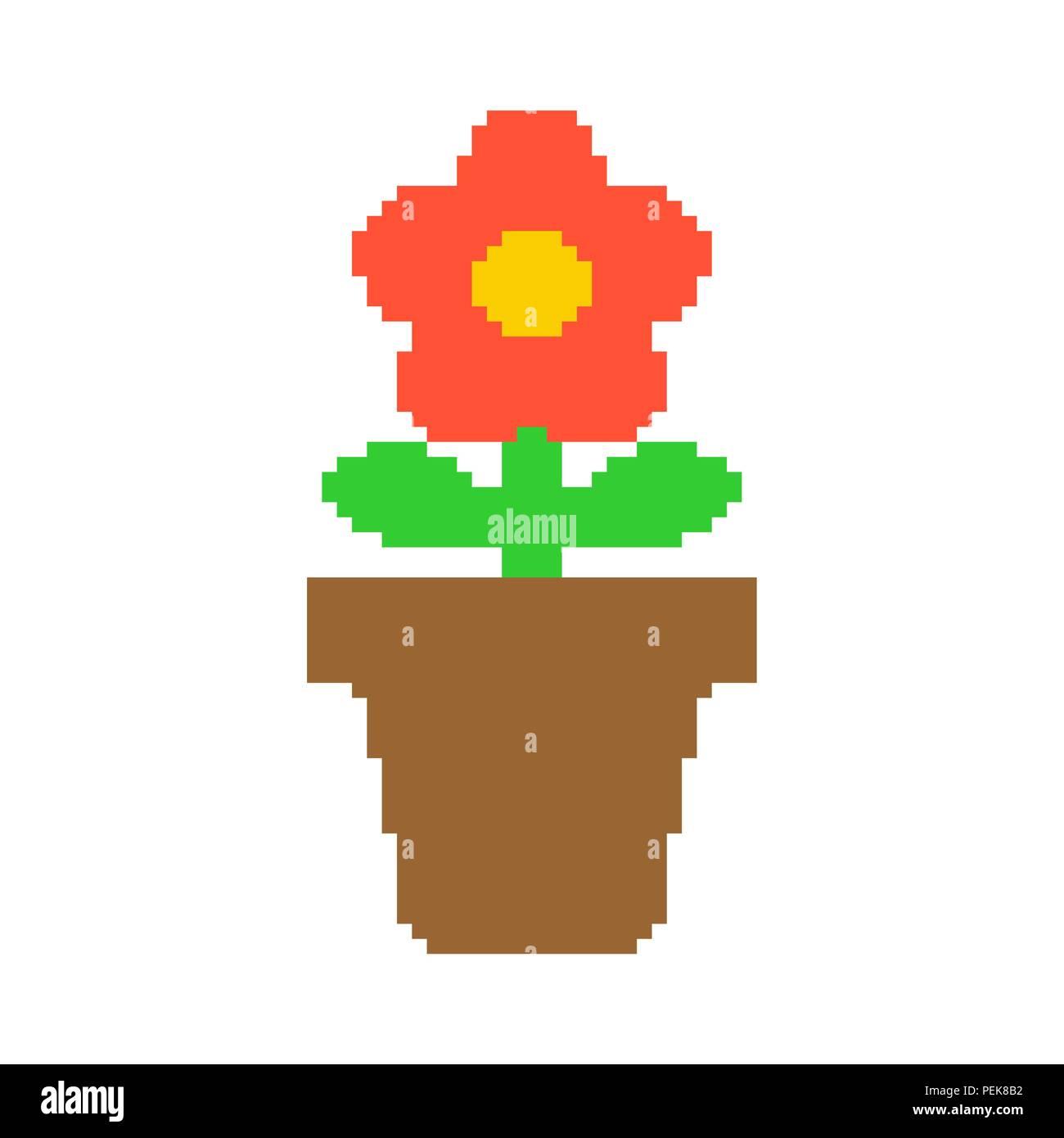 Pot De Fleurs Dans L Art Du Pixel 8 Bits Vector Illustration