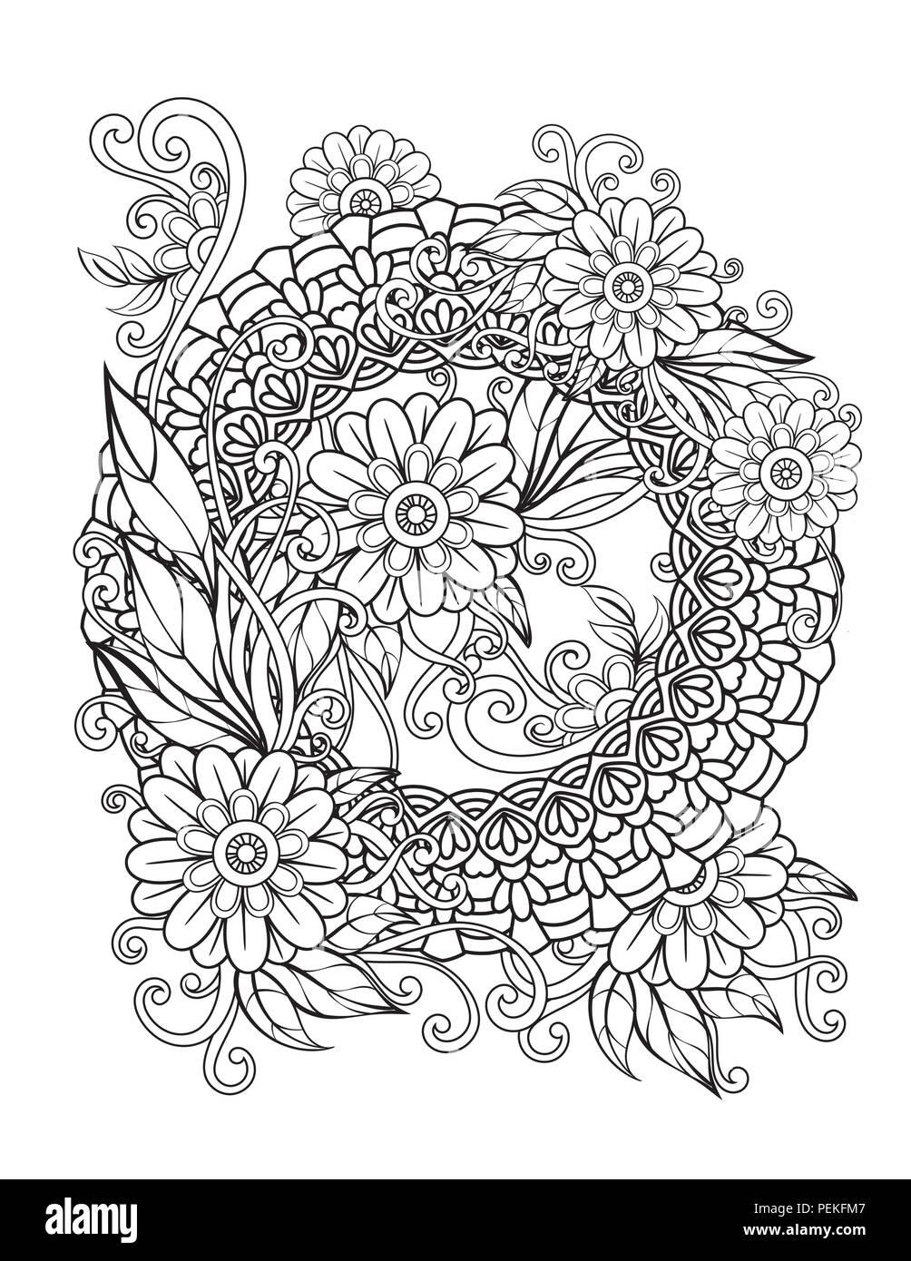 Motif floral mandala en noir et blanc livre de coloriage adultes page avec des fleurs et des - Motif oriental a imprimer ...