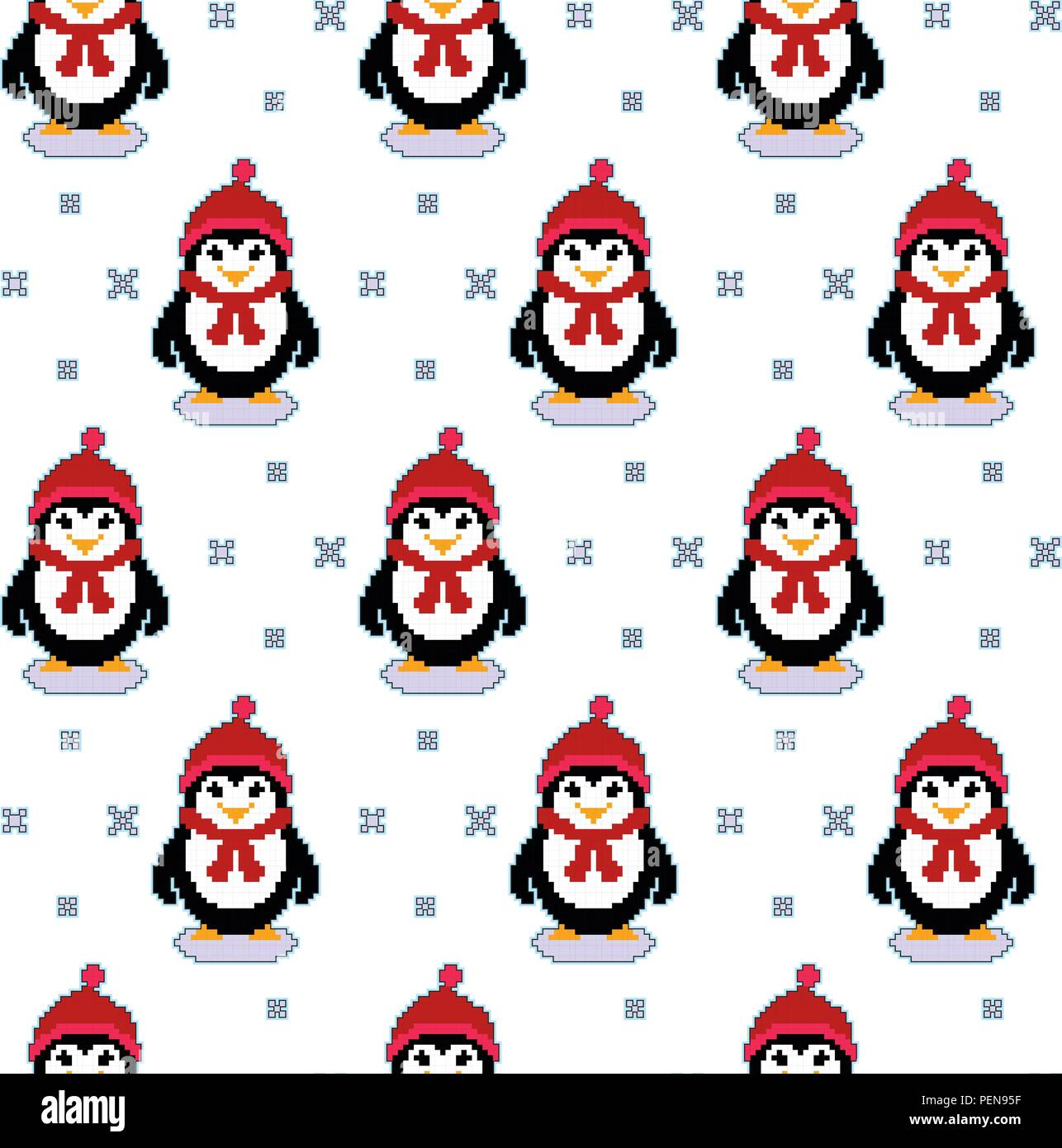 Modèle Avec Texture Seamless Vector Pixel Art Pingouins Et