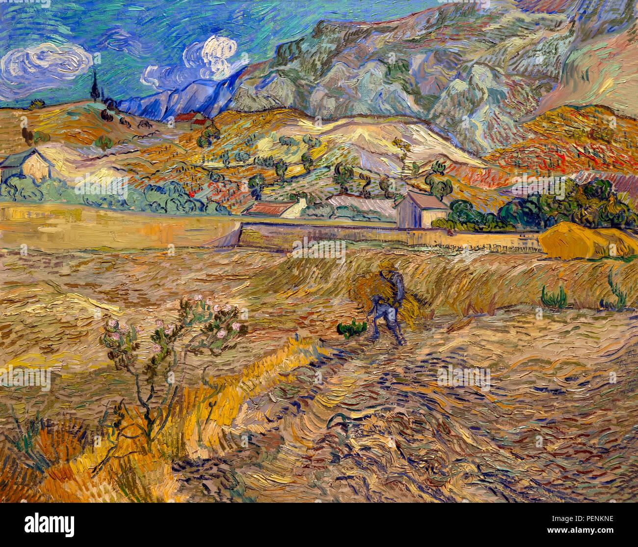 Paysage à Saint-Remy, clôturé Terrain avec paysan, Vincent van Gogh, 1889, Indianapolis Museum of Art, Indianapolis, Indiana, USA, Amérique du Nord Photo Stock