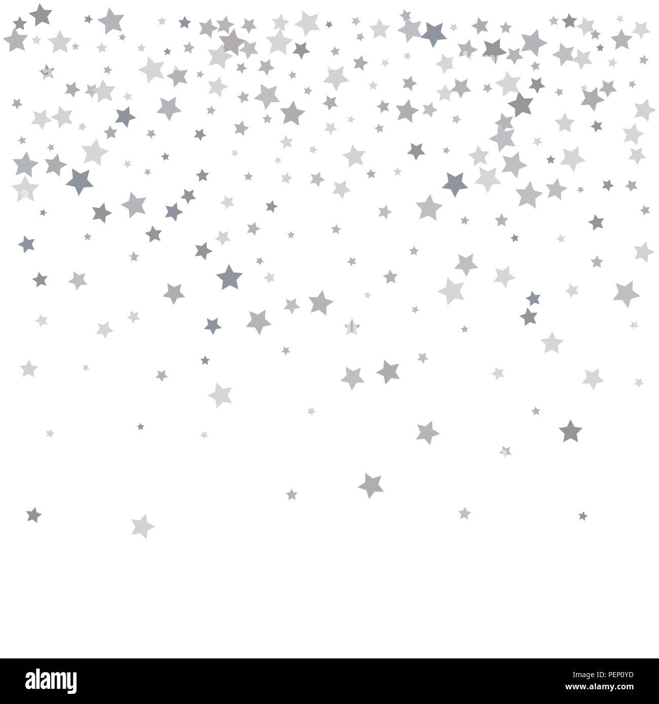 Confettis Etoiles Argent Tomber Arriere Plan De Fete De Luxe Texture Abstrait D Argent Sur Un Fond Blanc Element De Design Vector Illustration Image Vectorielle Stock Alamy