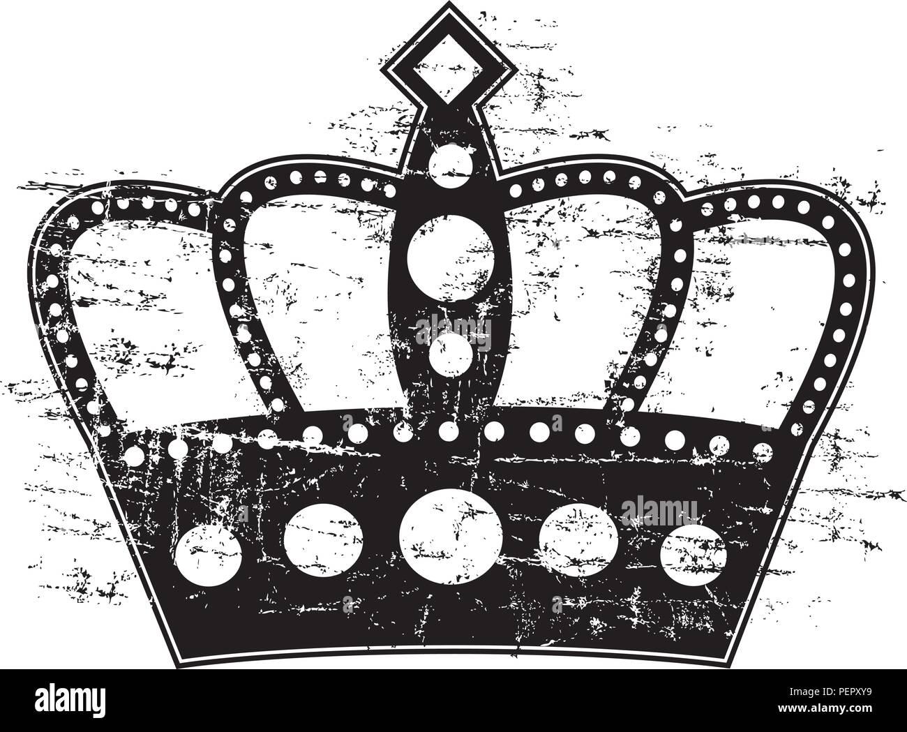 Gravure sur bois d'un style. Une couronne avec une gravure sur bois. Photo Stock