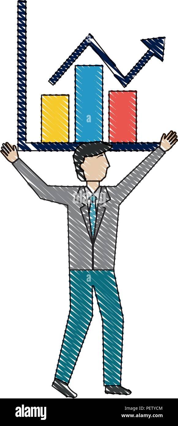 Businessman holding chart la croissance de l'entreprise arrow Illustration de Vecteur