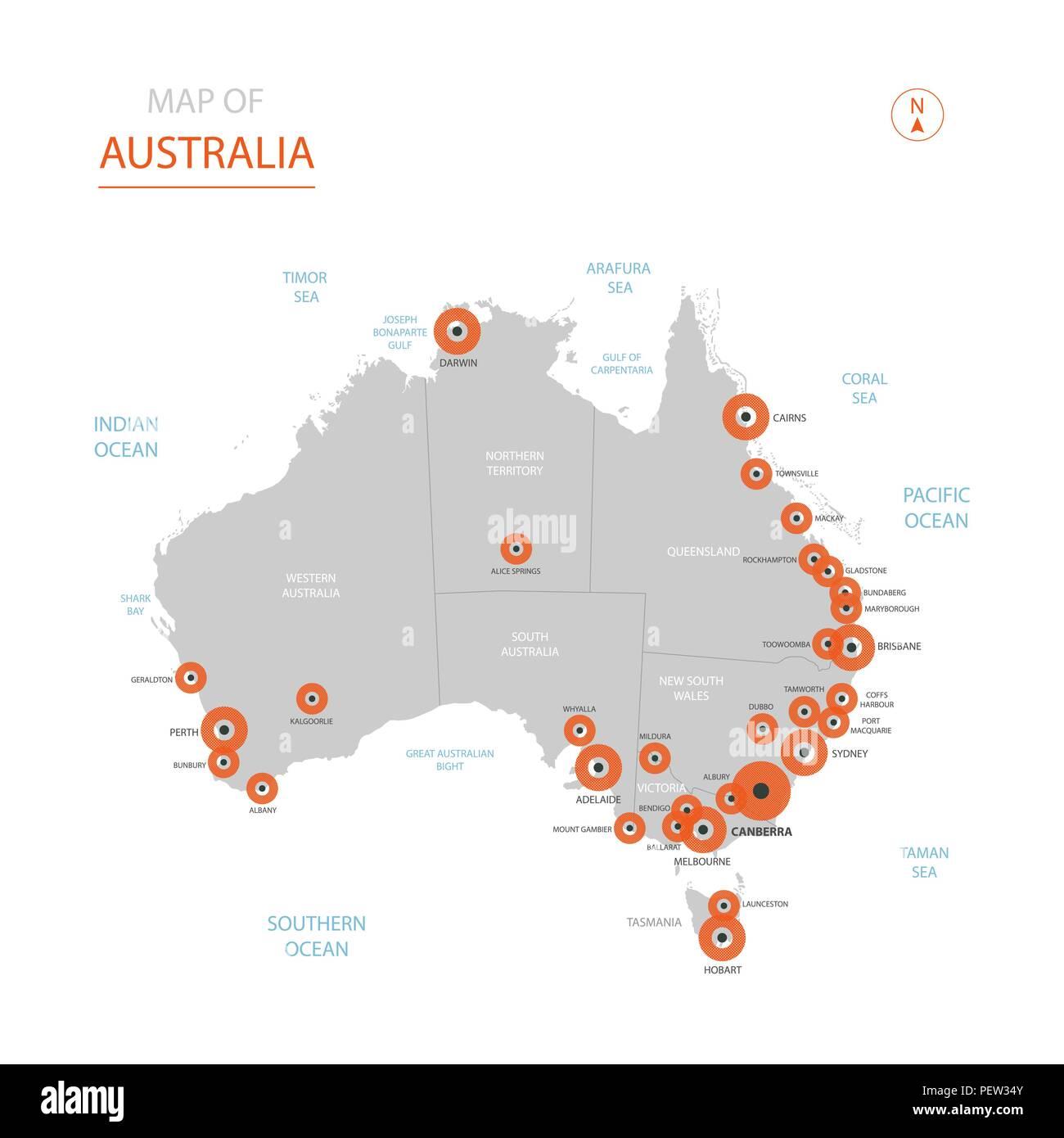 Carte Australie Grande Ville.Vecteur Stylise Australie Carte Montrant Les Grandes Villes La