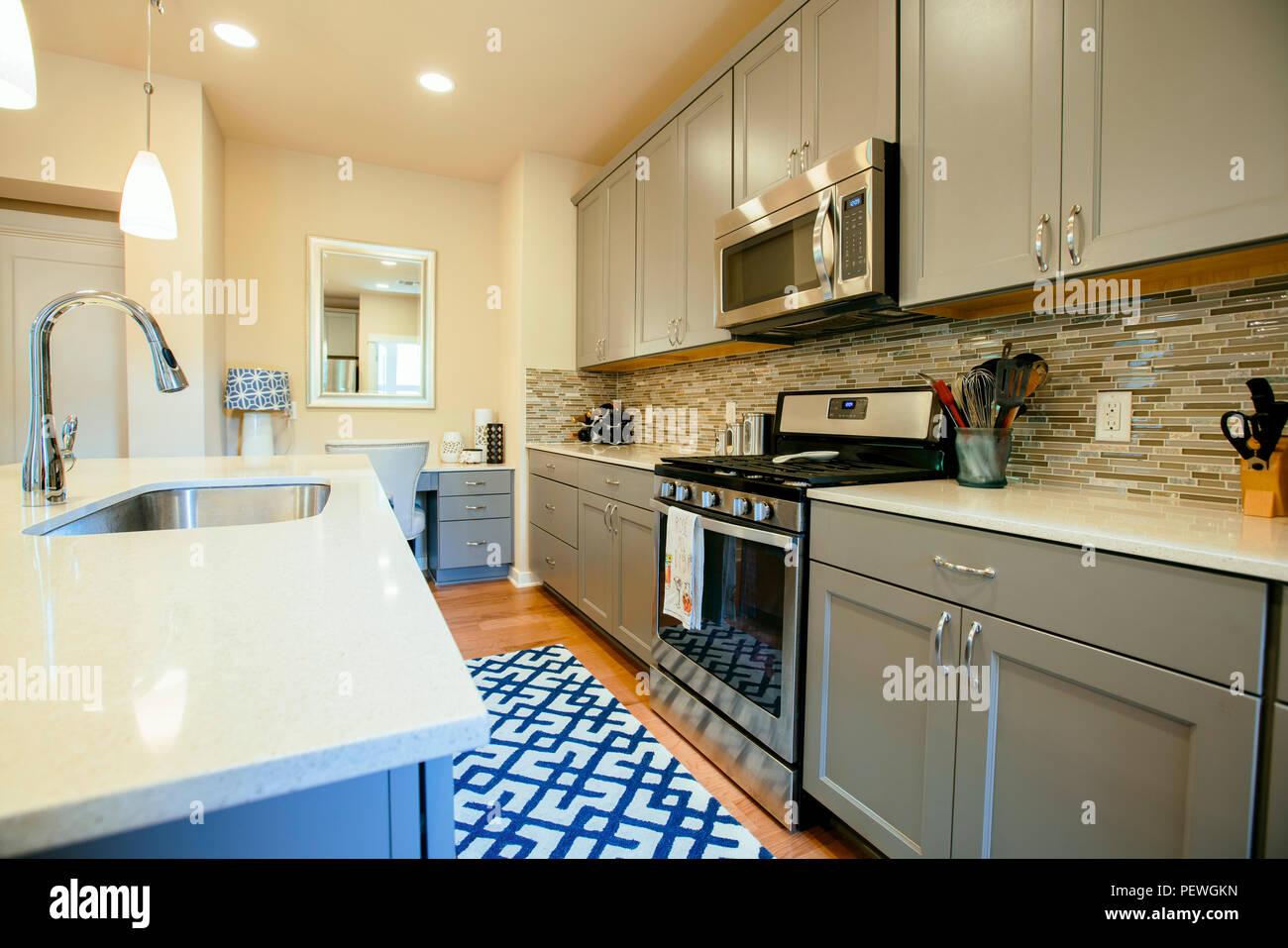 Maison moderne avec cuisine vert gris équipé d\'unités, un ...