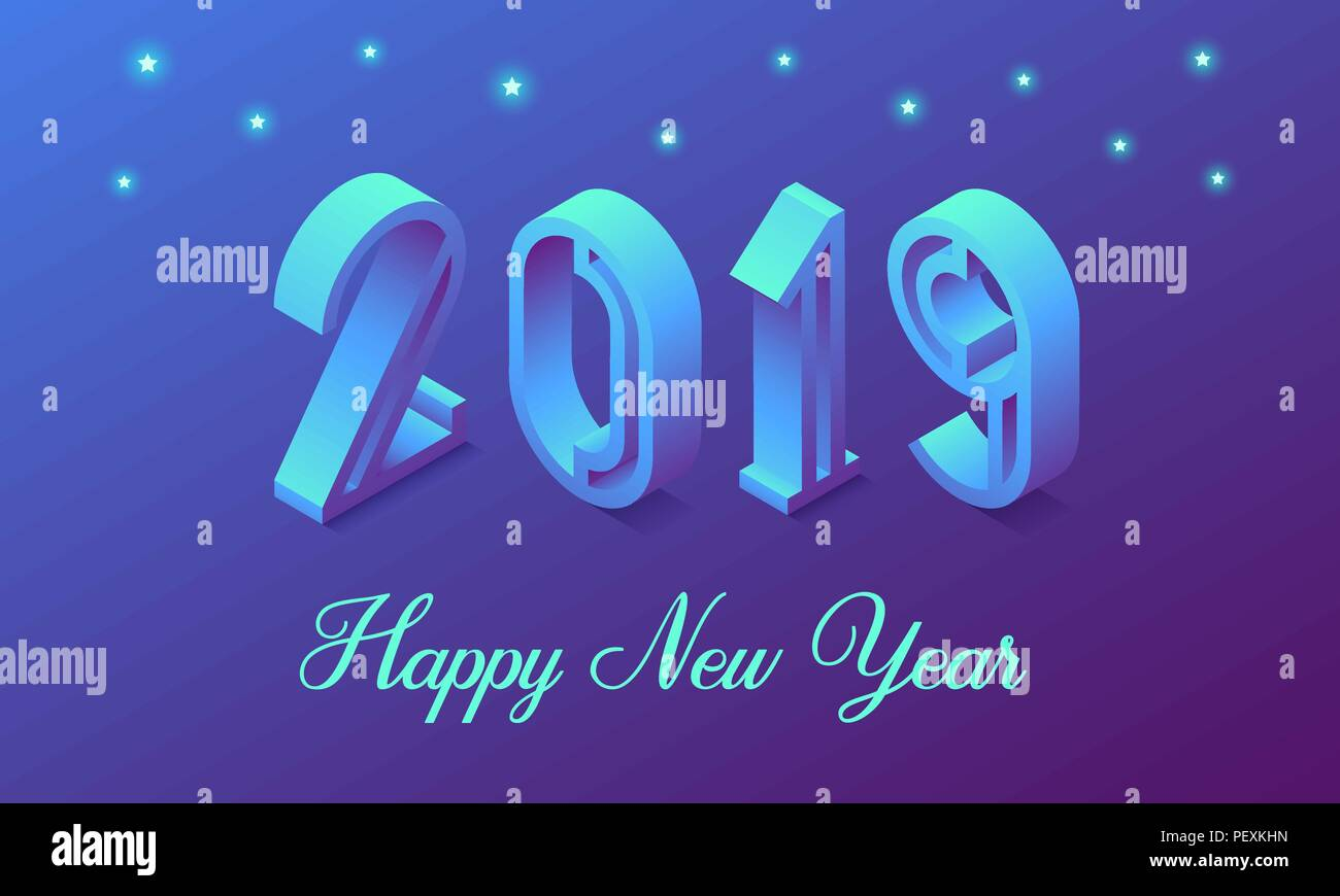 e82ec5875857 Nouvelle année 2019 en style isométrique. Vector illustration isométrique  de nombre 2019 en bleu dégradé avec message d inscription d une bonne année.