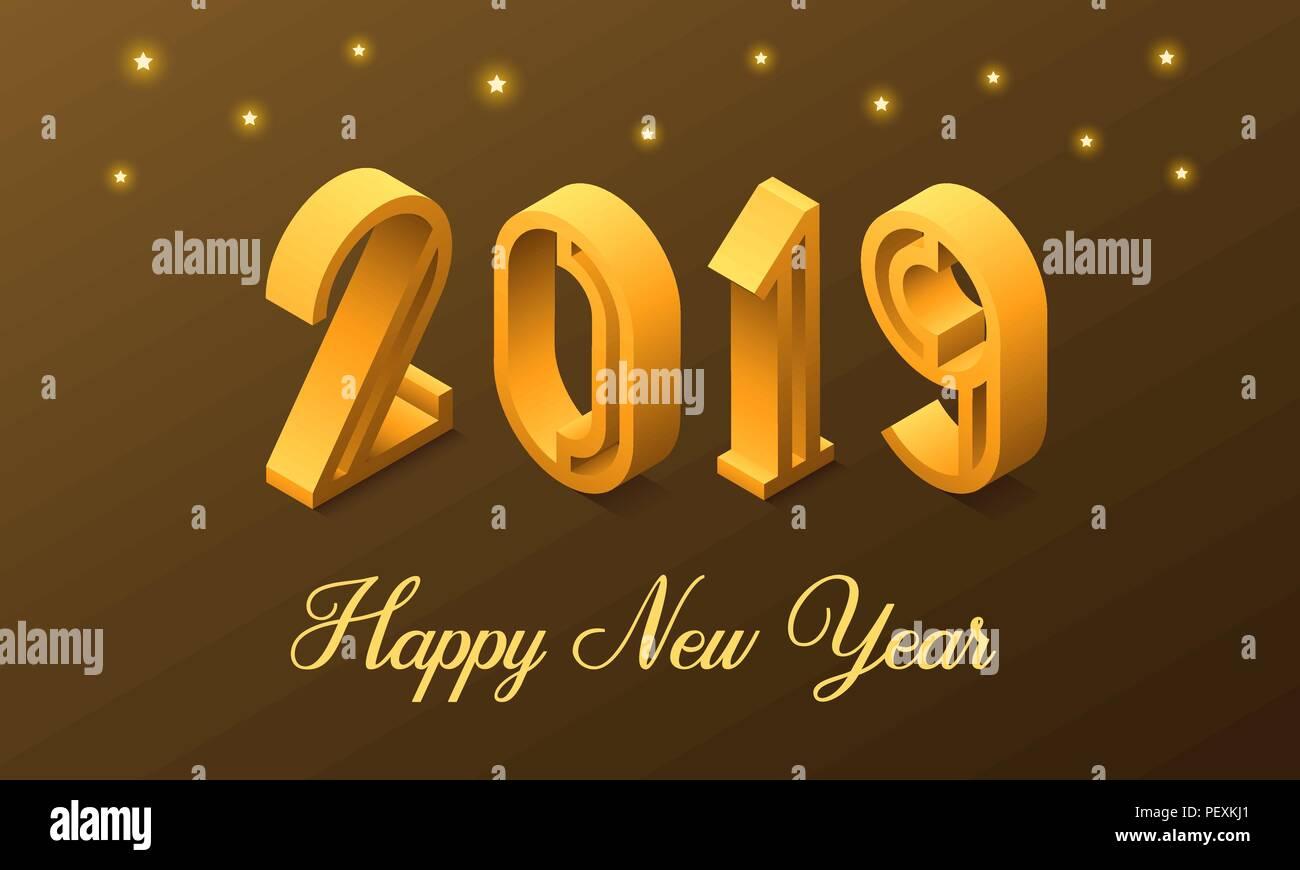 8692974a77ae Nouvelle année 2019 en style isométrique. Vector illustration isométrique  nombre de 2019 à golden dégradé avec inscription de vœux de bonne année.