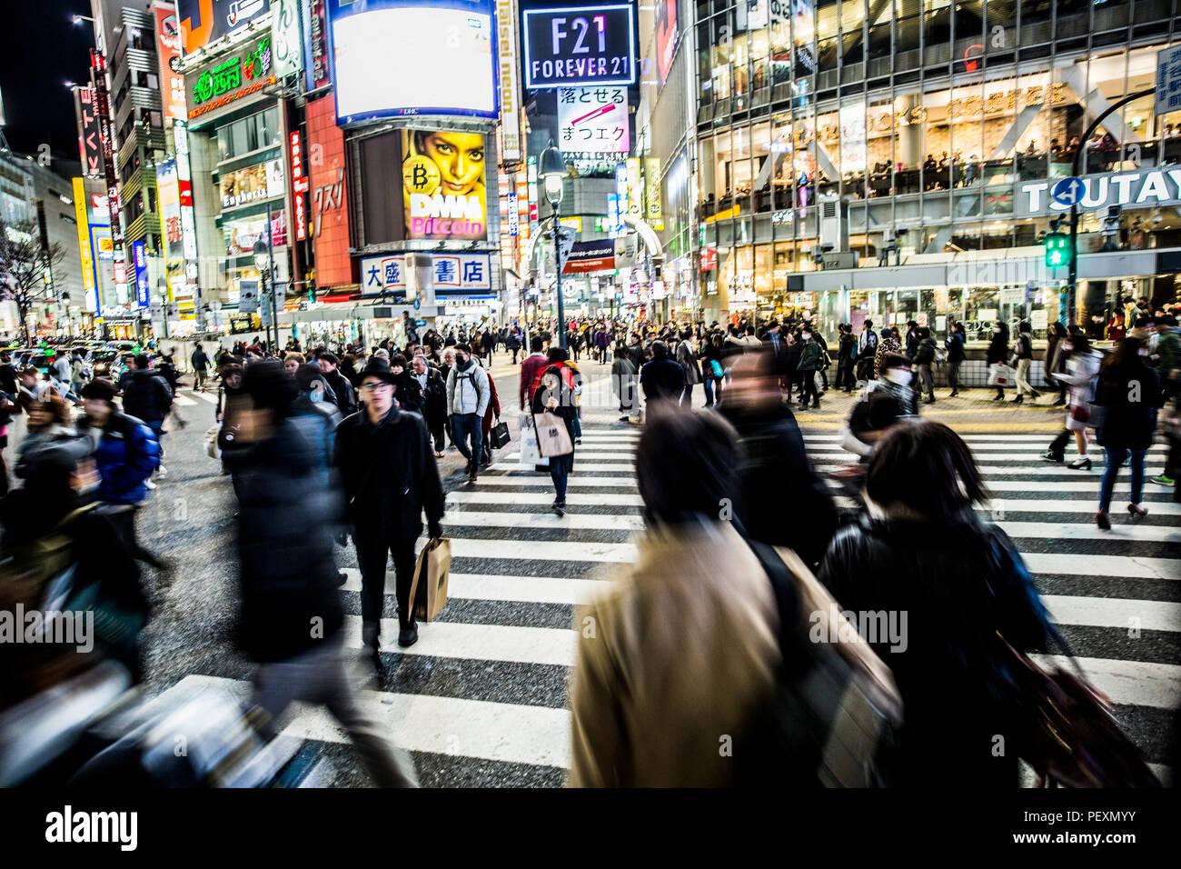 Croisement de Shibuya à Tokyo, Japon Photo Stock