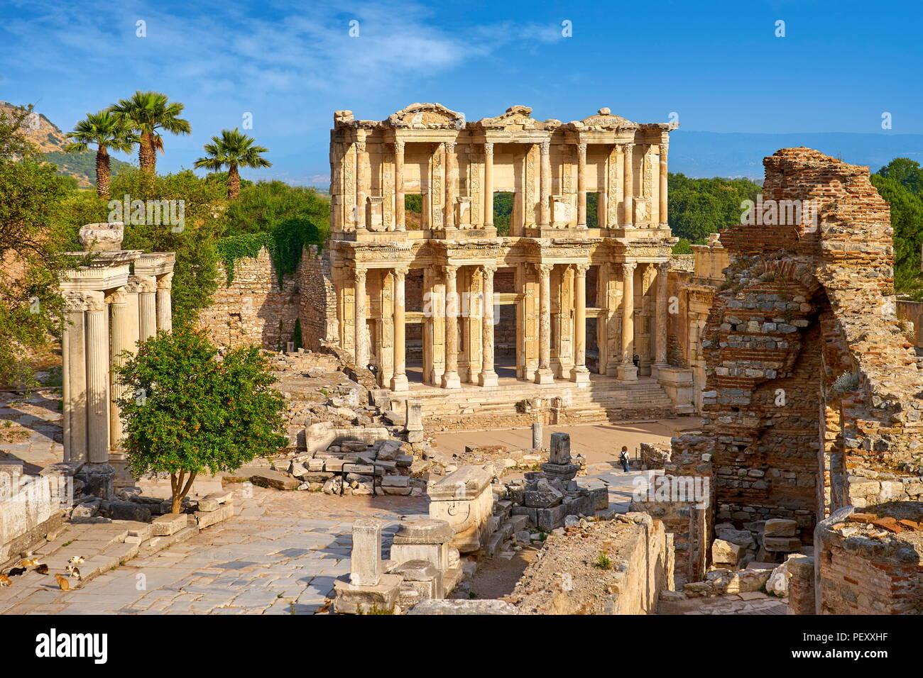 Bibliothèque de Celsus à Ephèse, ville ancienne, Izmir, Turquie Photo Stock
