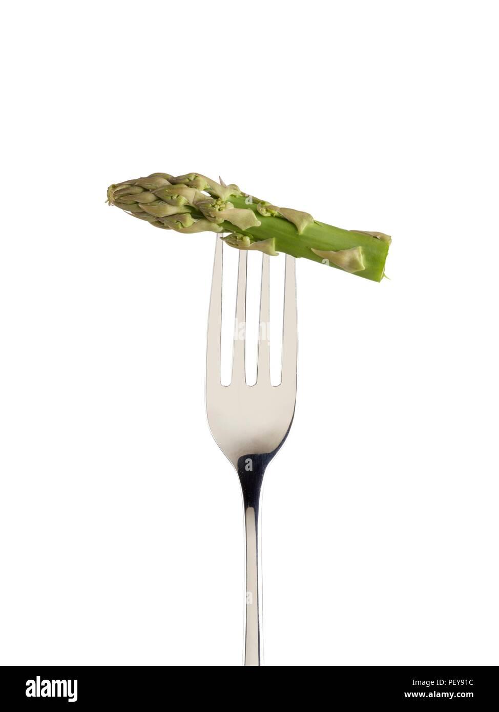 Les asperges sur une fourchette. Photo Stock