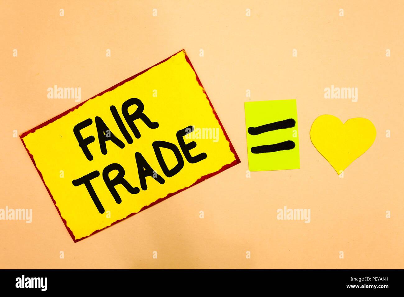 8f617c586ced La main conceptuel montrant le commerce équitable. Texte photo d affaires  petite augmentation par un fabricant ce qu ils ont payé à un producteur de  papier ...