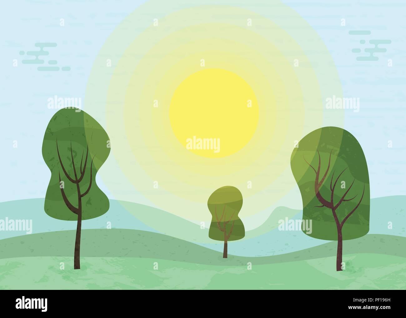 Television Paysage Vert Avec La Texture Coucher Du Soleil En Arriere Plan De