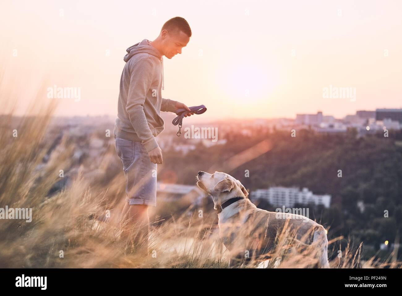 Promenade avec chien. Jeune homme et son labrador retriever sur le pré contre ville au lever du soleil. Photo Stock