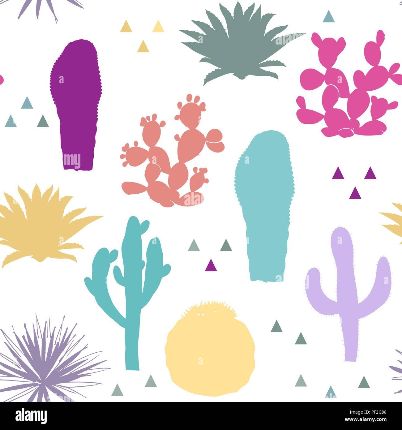 Modèle Transparent Avec Des Cactus Silhouettes De Couleurs Vives