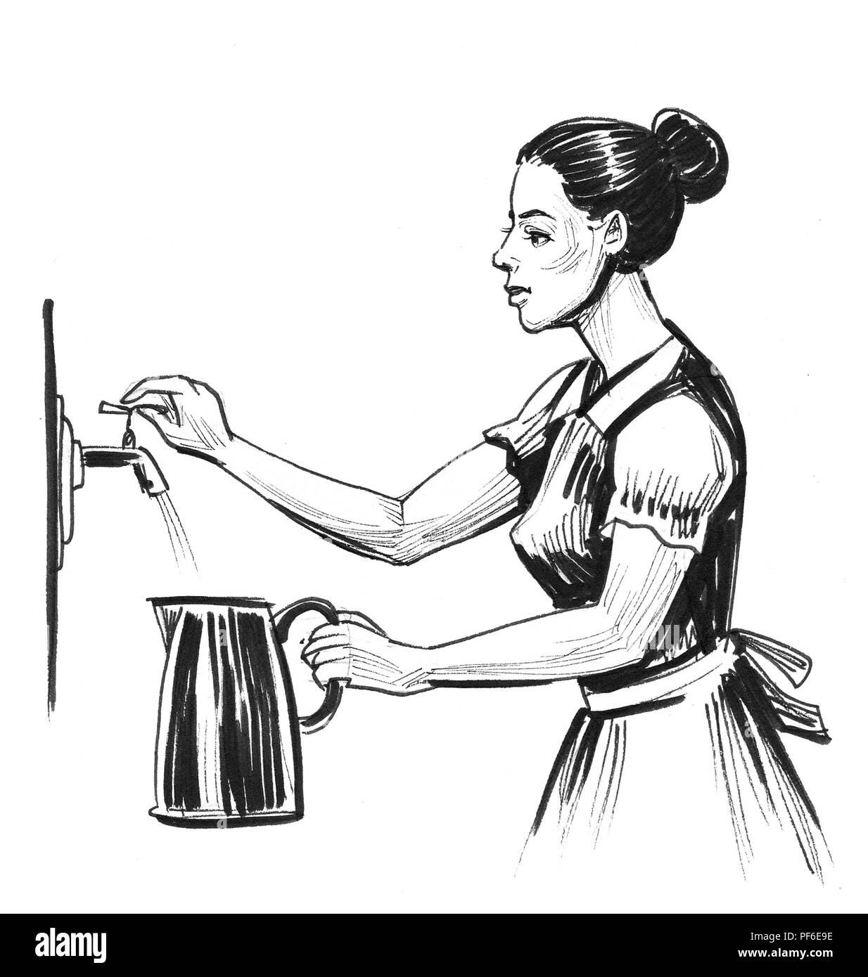 Femme Rempli La Bouilloire Avec De Leau Dessin Noir Et