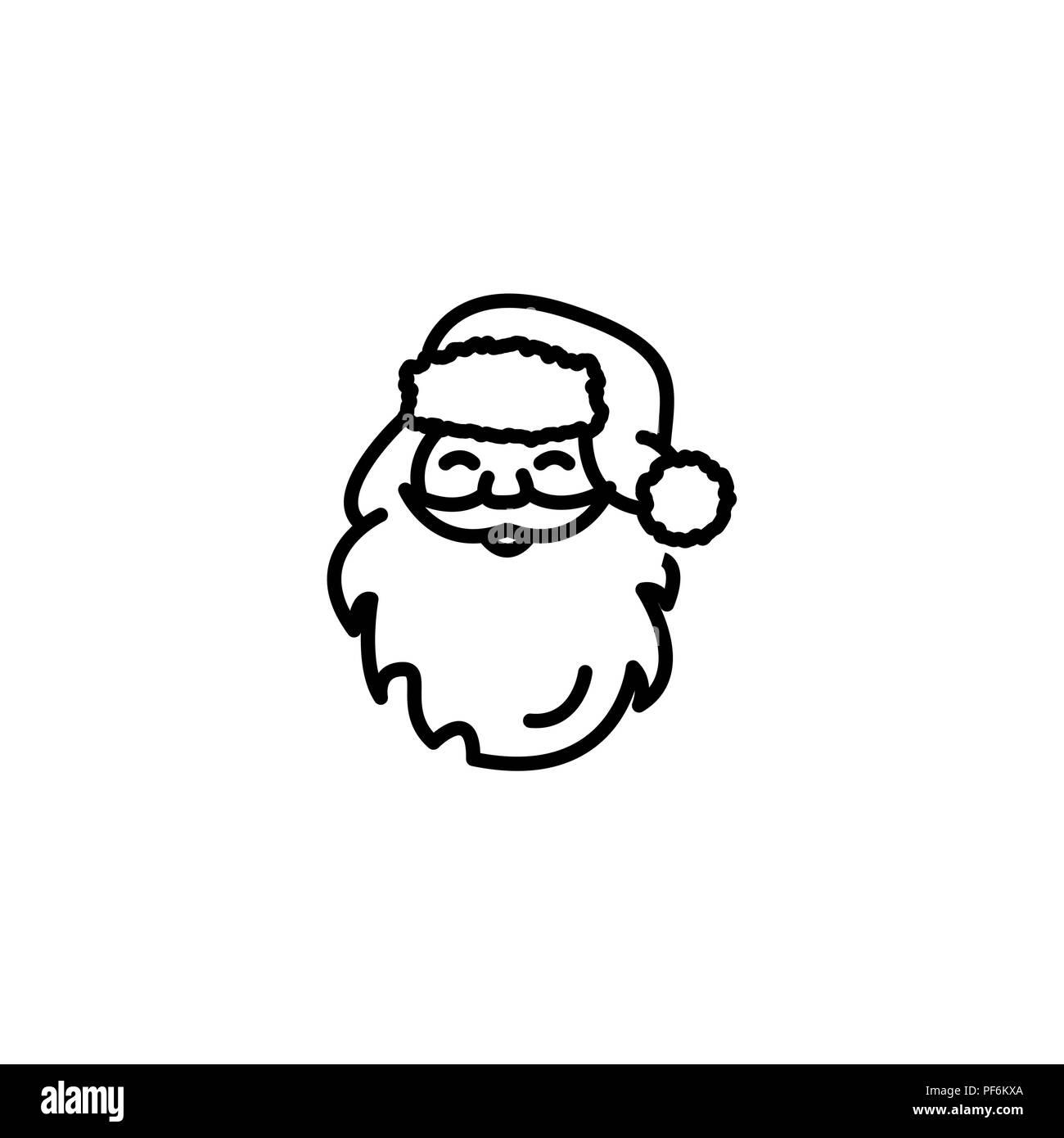 Licône De La Ligne Web Le Père Noël Noir Sur Fond Blanc