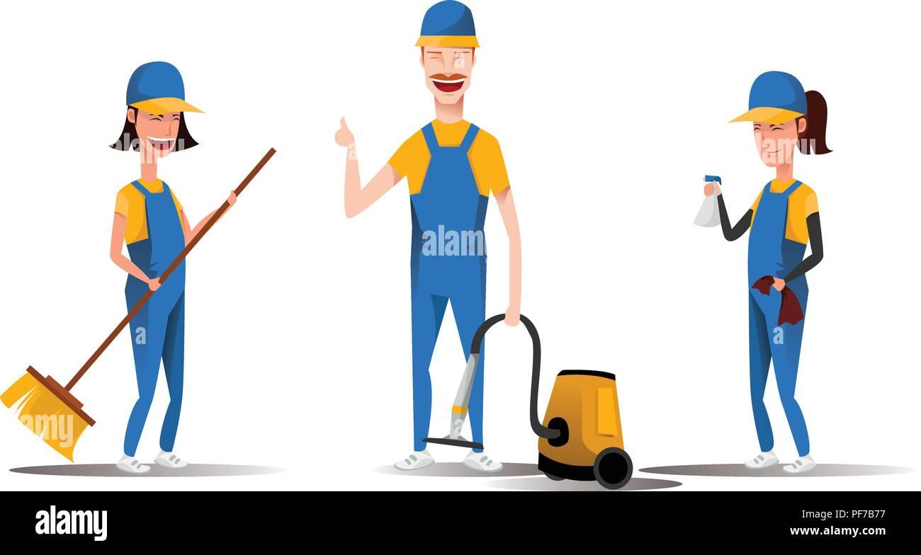 Le personnel du service de nettoyage smiling cartoon characters isolé sur fond blanc. Les hommes et les femmes habillés en uniforme vector illustration dans un style plat. Mignon et gai et femme de ménage concept. Photo Stock