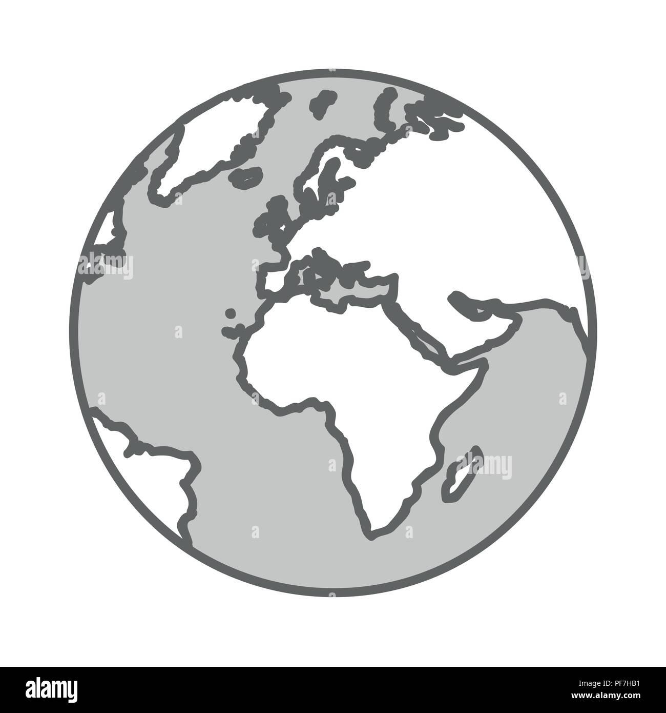 Globe Terrestre De La Terre Gris Dessin Simple Vector Illustration