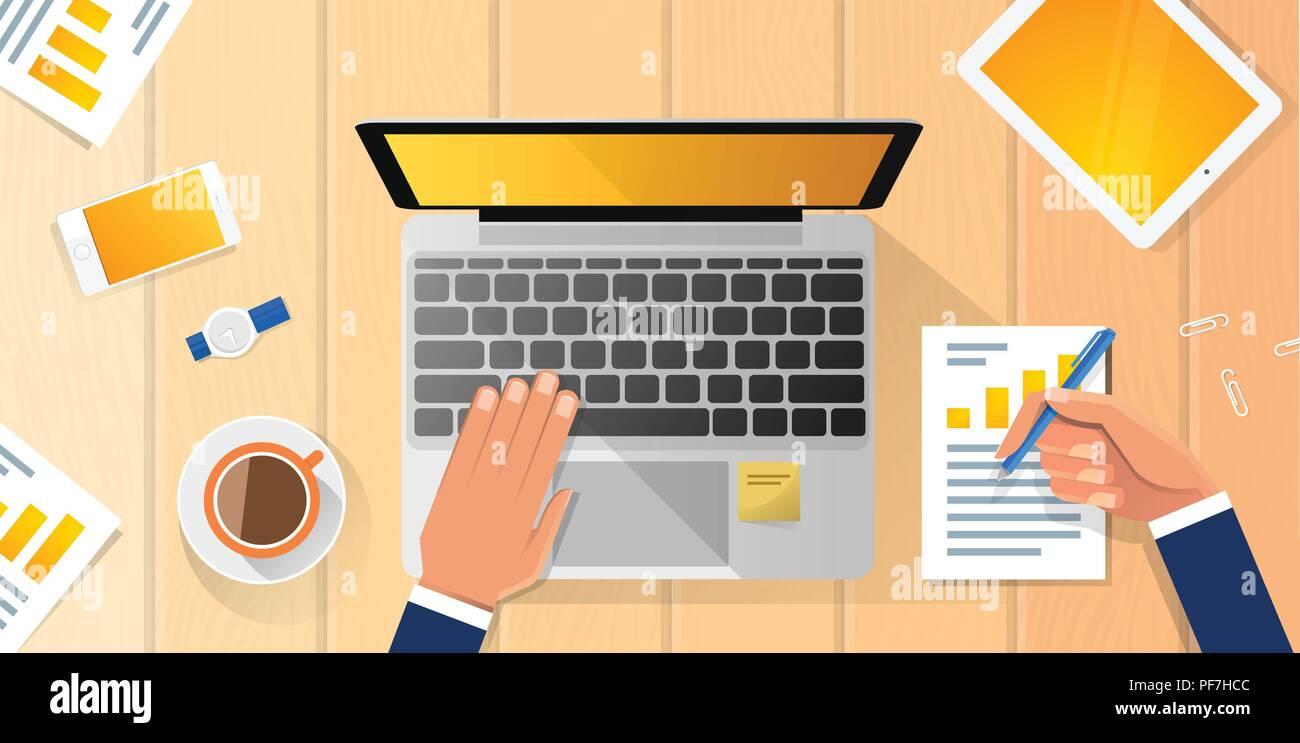 Milieu de travail mains d'affaires Bureau Ordinateur Portable télévision Vector Illustration Business Man Haut Angle au-dessus de bureau de Vue Illustration de Vecteur