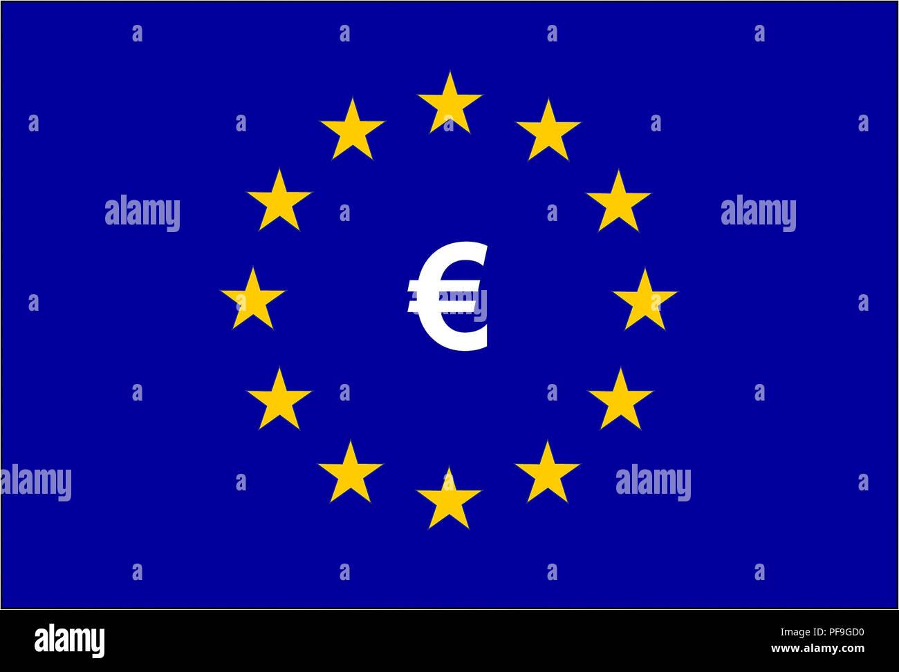 Drapeau de l'Union européenne et le symbole Euro Photo Stock