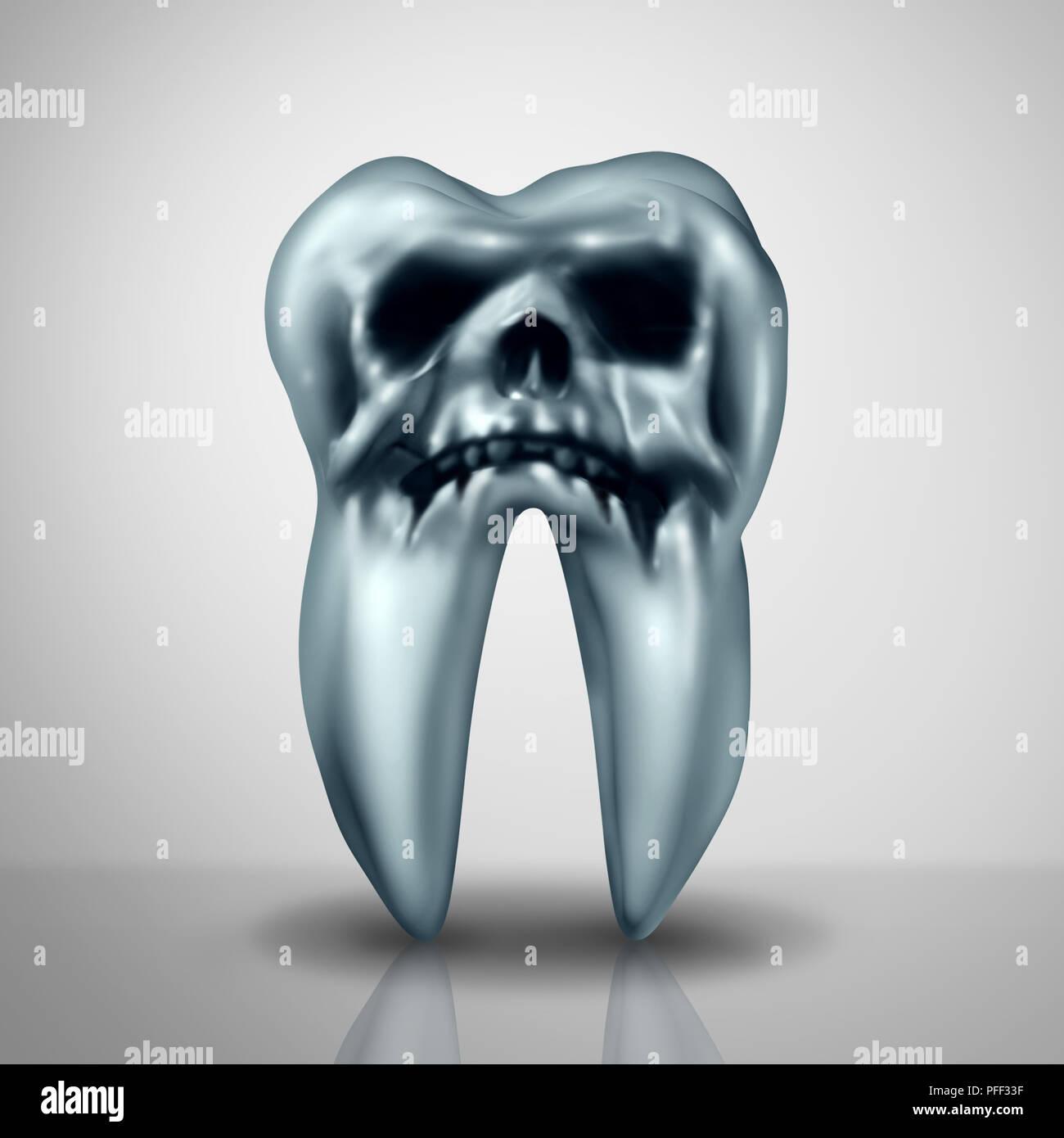 La carie dentaire comme un danger de maladie ou d'empreinte montrant le symbole des cavités risque de carie dentaire anatomie en dues aux bactéries et aux acides comme un crâne de mort. Photo Stock