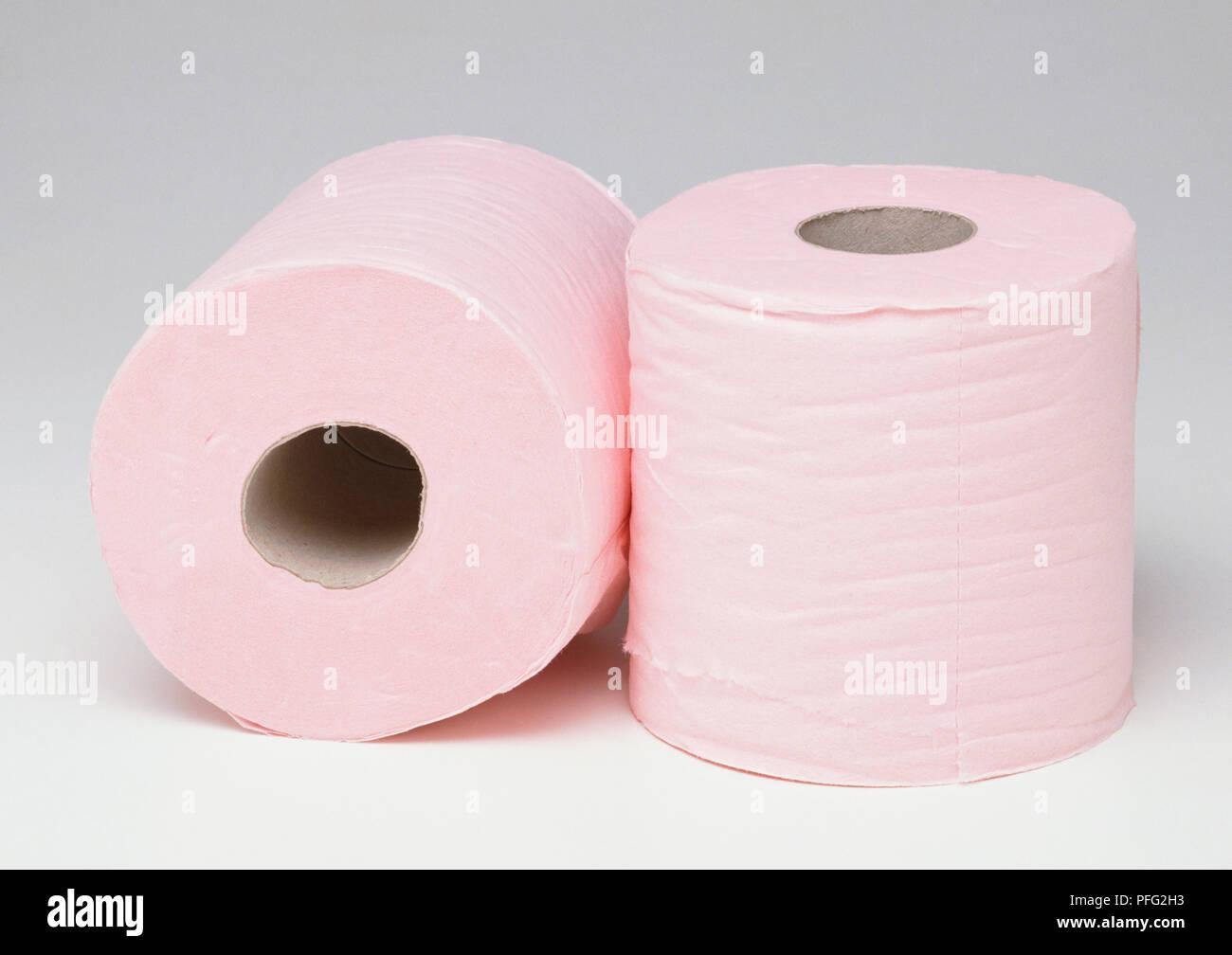 Deux Rouleaux De Papier Toilette Rose Banque Dimages Photo Stock