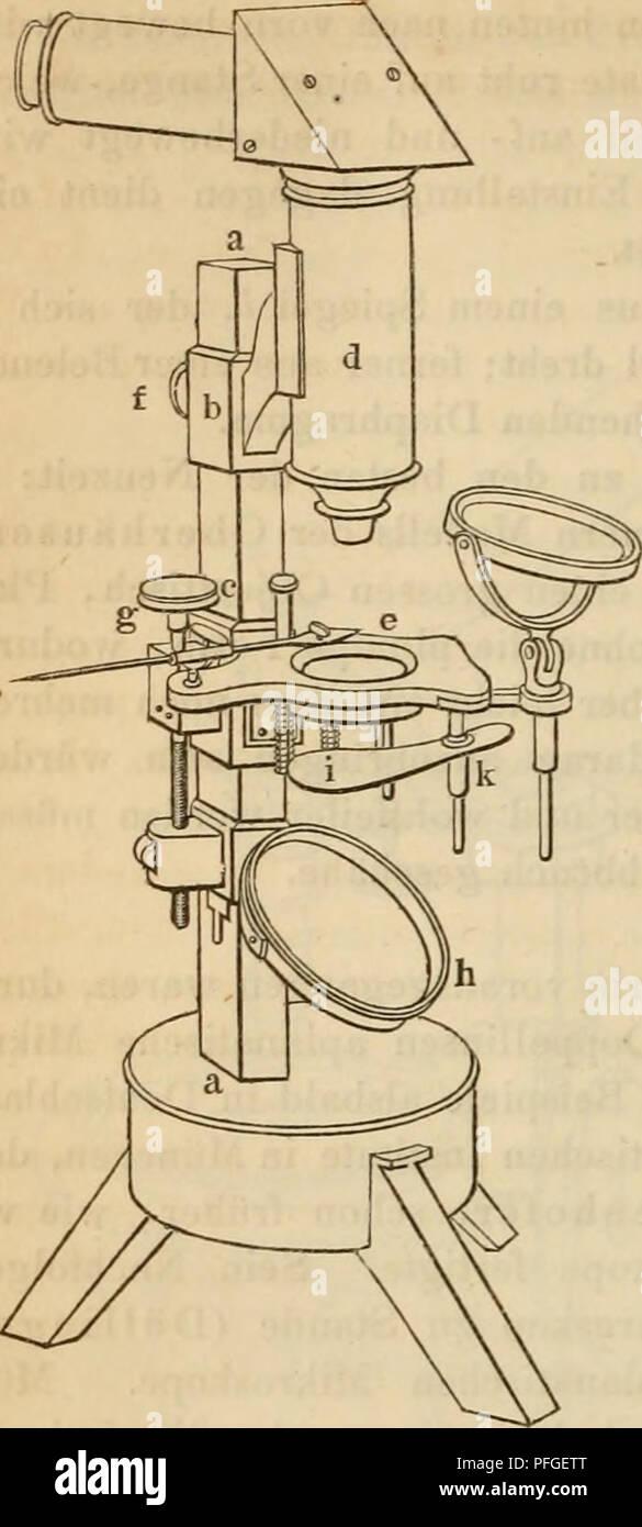 . Das mikroskop. Theorie, gebrauch, Geschichte und gegenwärtiger zustand desselben. Les microscopes. 728 % Mikroskope'sur Merz. kamen, fand sich eine andere wesentliche demselben die Verbesserung, späterhin Mikroskopen wurde bei vielen beibehalten. Merz erkannte Fig. 296. nämlich, dass durch das gläserne reflectirende Prisma, welches Amici dans sein horizontales Mikroskop brachte, immer etwas Licht geht und verloren, c'est pourquoi gab er seinem Mikro- skoprohre die Einrichtung, dass das guerre eingeschoben Prisma zwar, aber auch wieder nach Willkür wegge- nommen werden konnte, wo dann das ganze Rohr vertic Photo Stock