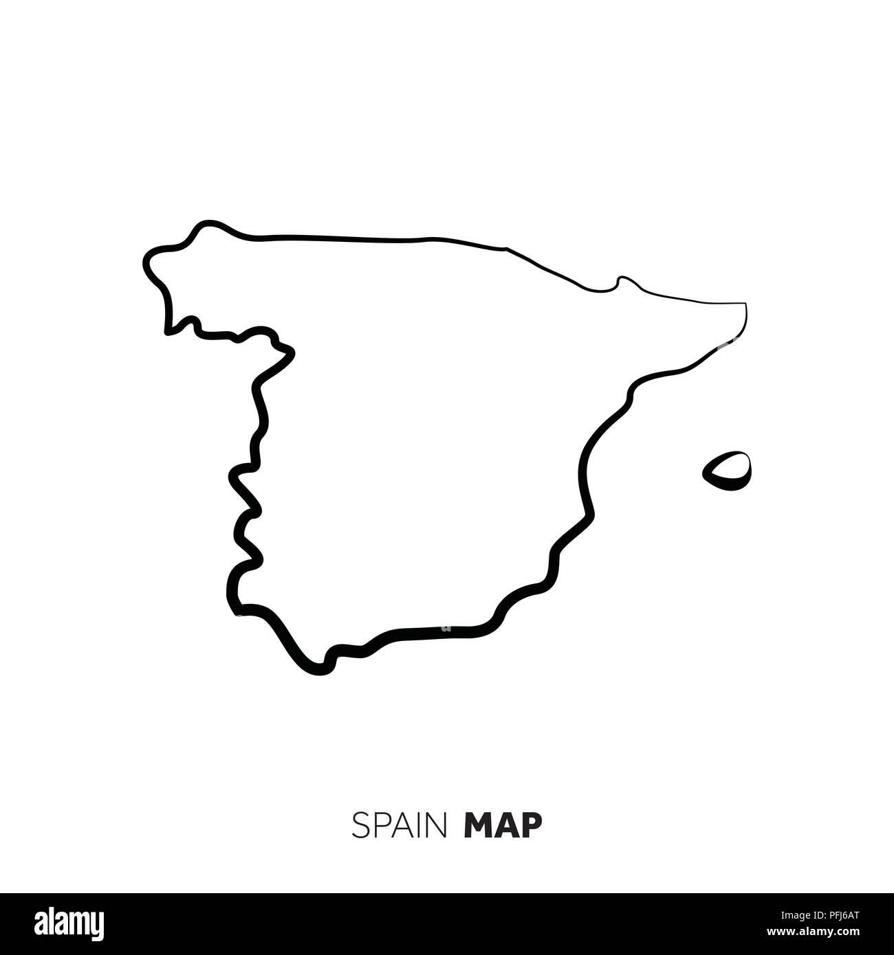 Carte Espagne Hors Ligne.Vecteur De L Espagne Carte Pays Contour Ligne Noire Sur Fond Blanc