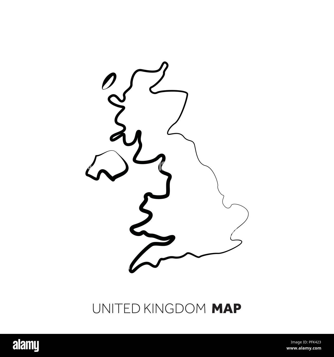 Carte Royaume Uni Noir Et Blanc.Royaume Uni Vector Carte Pays Contour Ligne Noire Sur Fond