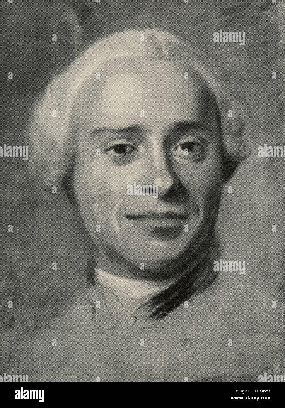 Jean-Baptiste le Rond d'Alembert, 1717 - 1783. Le mathématicien, physicien, philosophe, scientifique américain, et théoricien de la musique. Après un travail de portraitiste rococo français, Maurice Quentin de La Tour, (1704 - 1788). À partir de la Tour, publié en 1920. Photo Stock