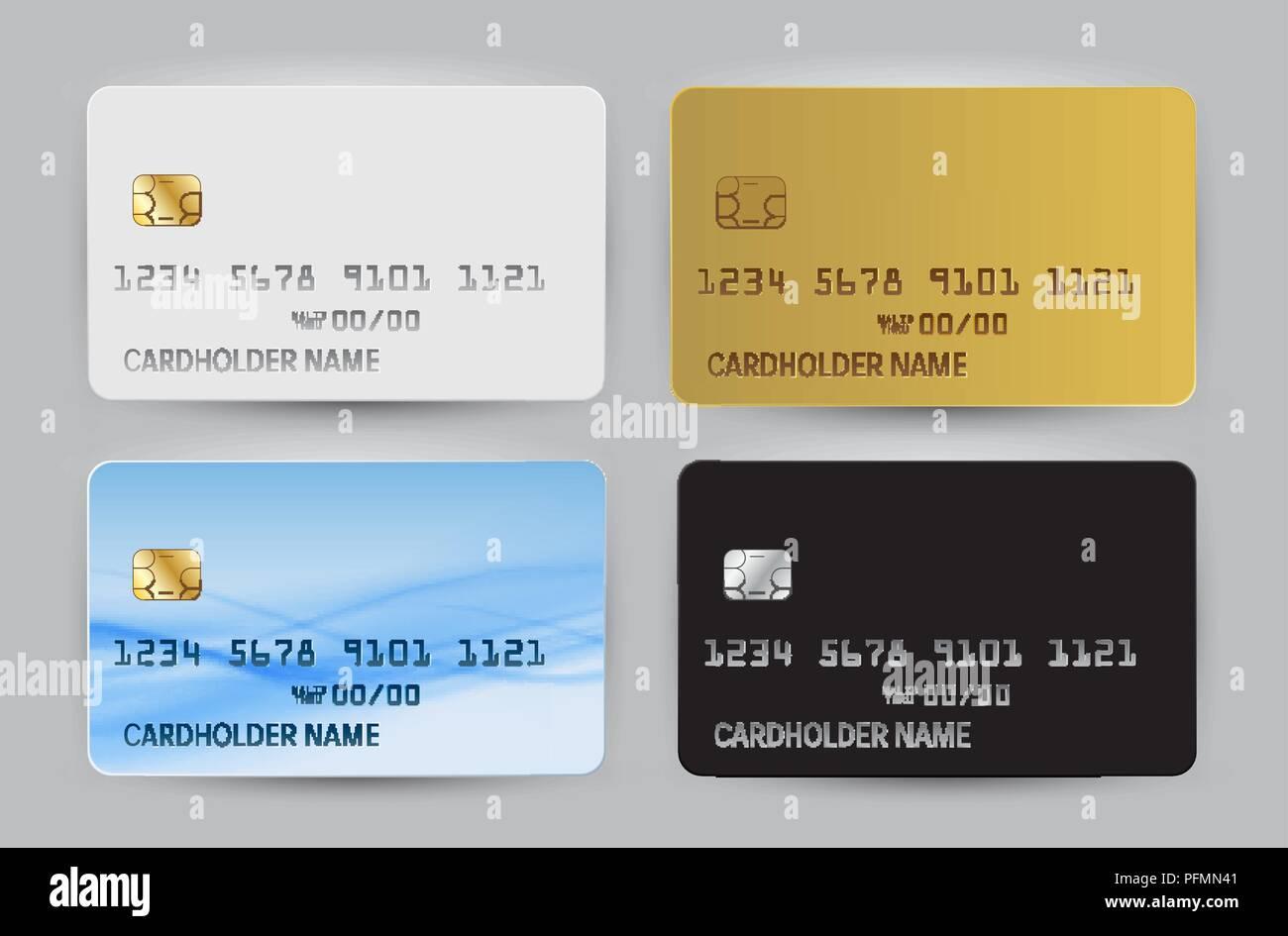 Carte Bleue Transparente.Noir Blanc Or Et Bleu Modele Vierge De Carte Bancaire D