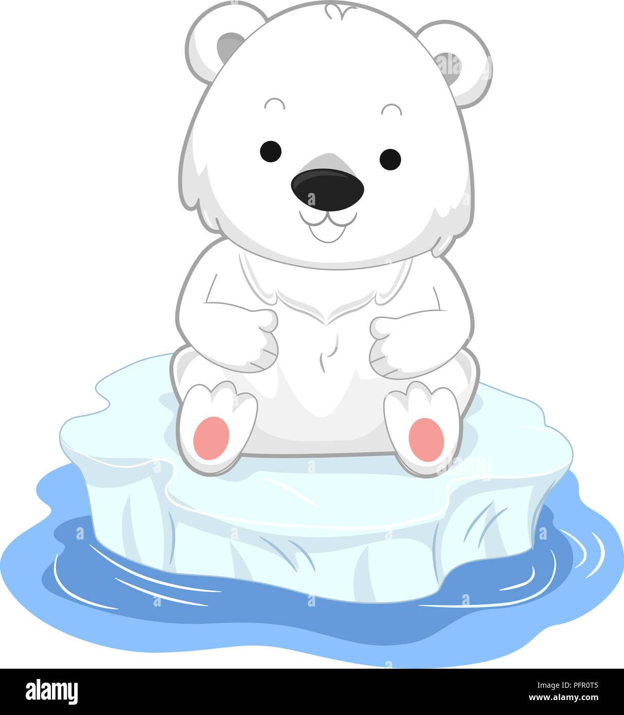 Illustration D Un Ours Polaire Assis Sur Un Iceberg Flottant Dans