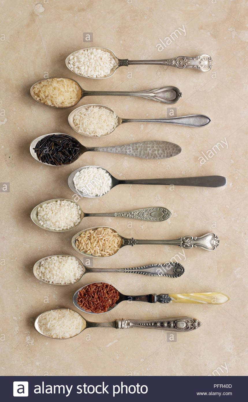 Les cuillères contenant différents types de riz, risotto de riz, riz à grains longs, le riz basmati, riz sauvage, riz collant, le pudding de riz, riz brun, riz à sushi, riz rouge de Camargue (riz), riz au jasmin Photo Stock