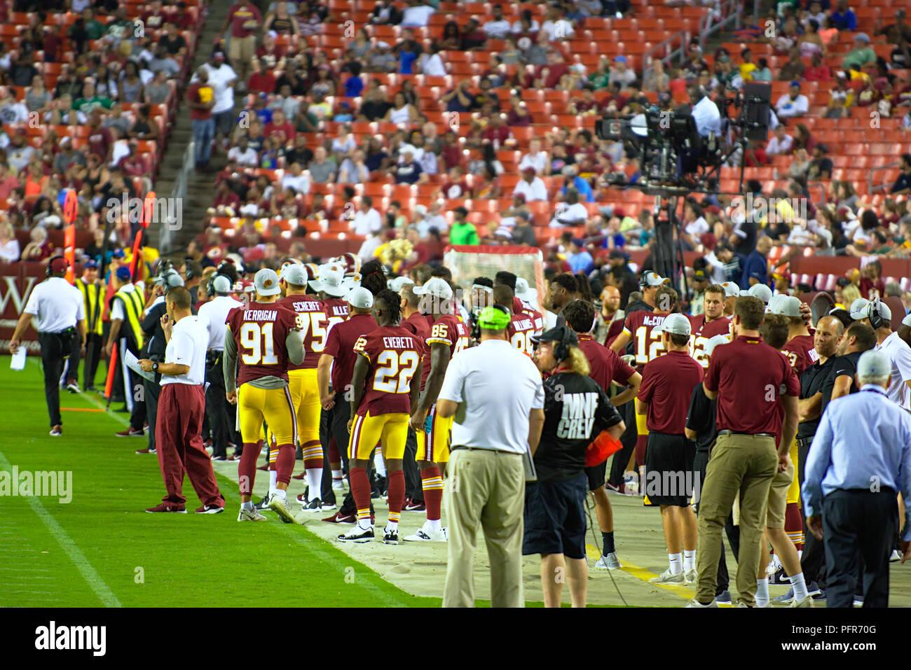 Redskins de Washington de touche durant la pré-saison accueil match contre New York Jets Photo Stock