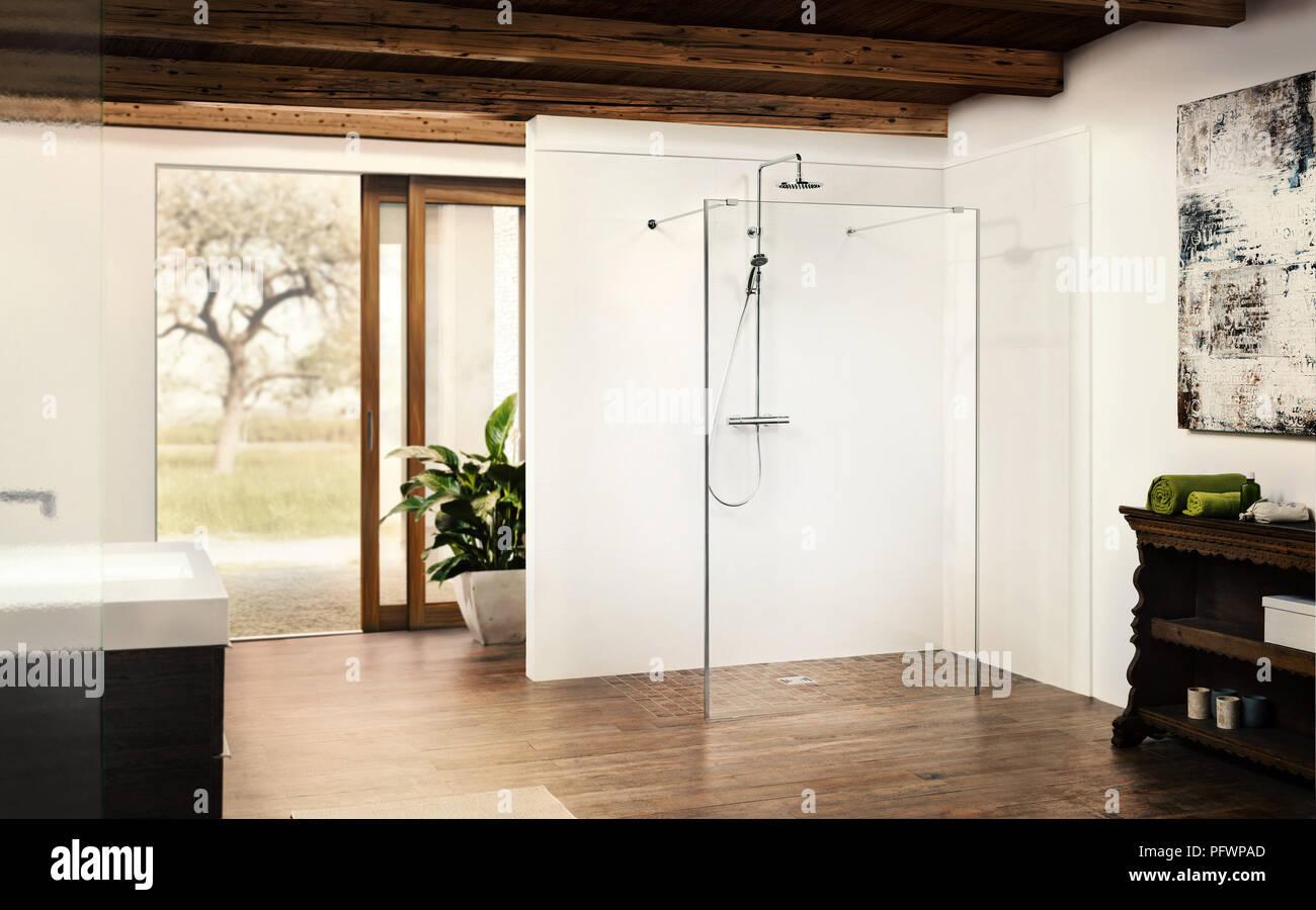 Salle de bains avec une douche moderne et d\'une porte ouverte pour ...