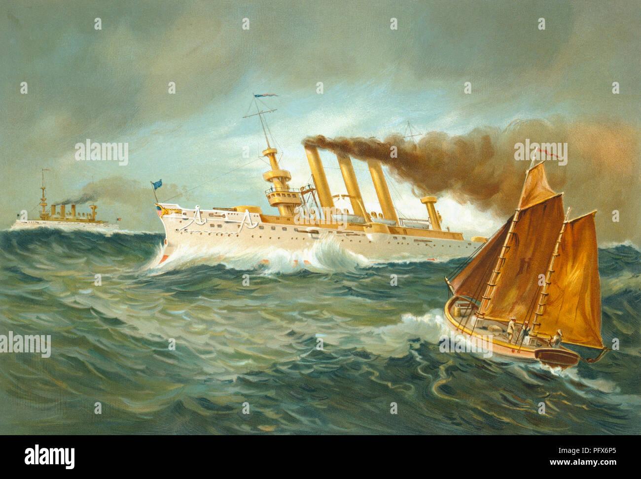 Impression d'artiste de USS Brooklyn, un croiseur blindé de la marine des États-Unis, lancé en 1895 et mis hors service en 1920. Elle a été la vedette de la marine des États-Unis pendant la guerre hispano-américaine. Après une illustration publiée en 1898. Photo Stock
