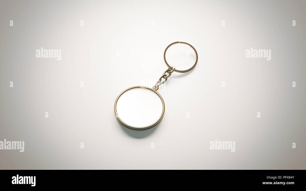 78eb0f45e29e Or vierge blanche ronde chaîne clé immersive vue isométrique, rendu 3d.  Trousseau circulaire d