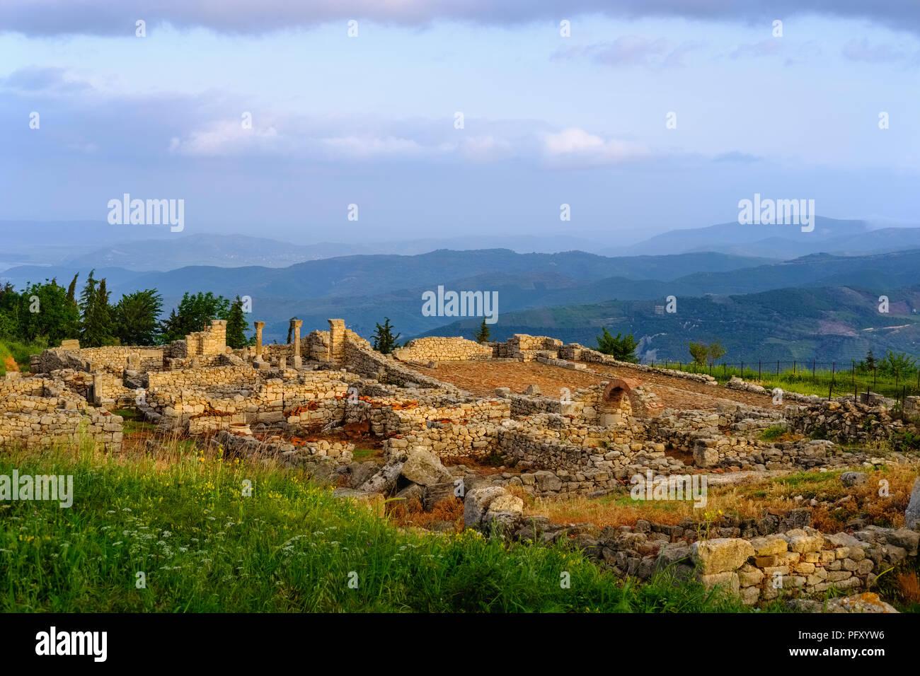 Ville ancienne Qarier Byllis, Fier, Albanie Photo Stock