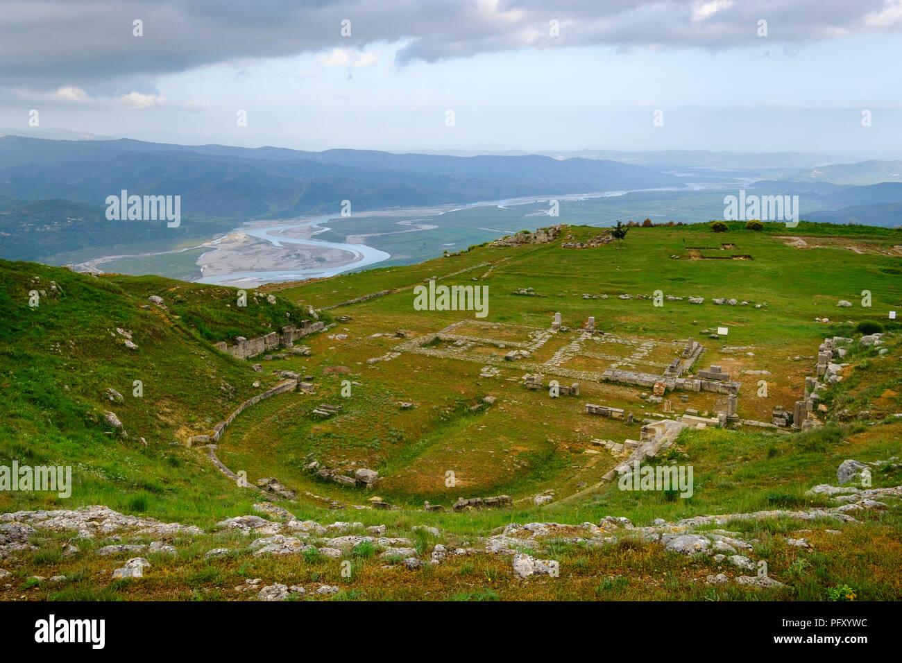 Théâtre, Byllis ville antique, la rivière Vjosa, Qier Fier, Albanie Photo Stock