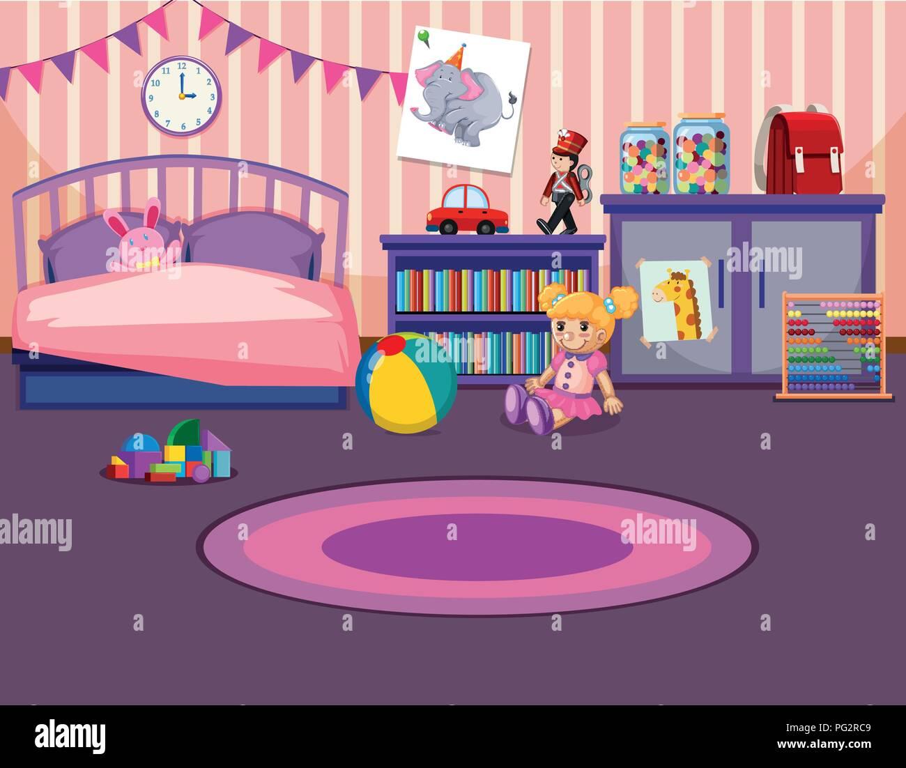 Illustration de l'intérieur chambre à coucher les jeunes filles Illustration de Vecteur