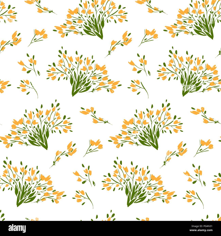 Motif floral seamless de différentes fleurs et feuilles. Illustration botanique peint à la main. Impression textile, mémo de tissu, papier d'emballage. Illustration de Vecteur