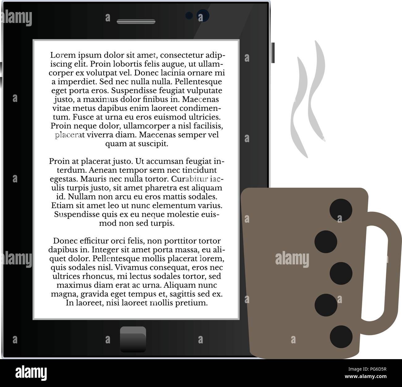 Lecture d'e-livre avec une tasse de café E-lecture, le café, le plaisir, - illustration simple pour votre conception Illustration de Vecteur