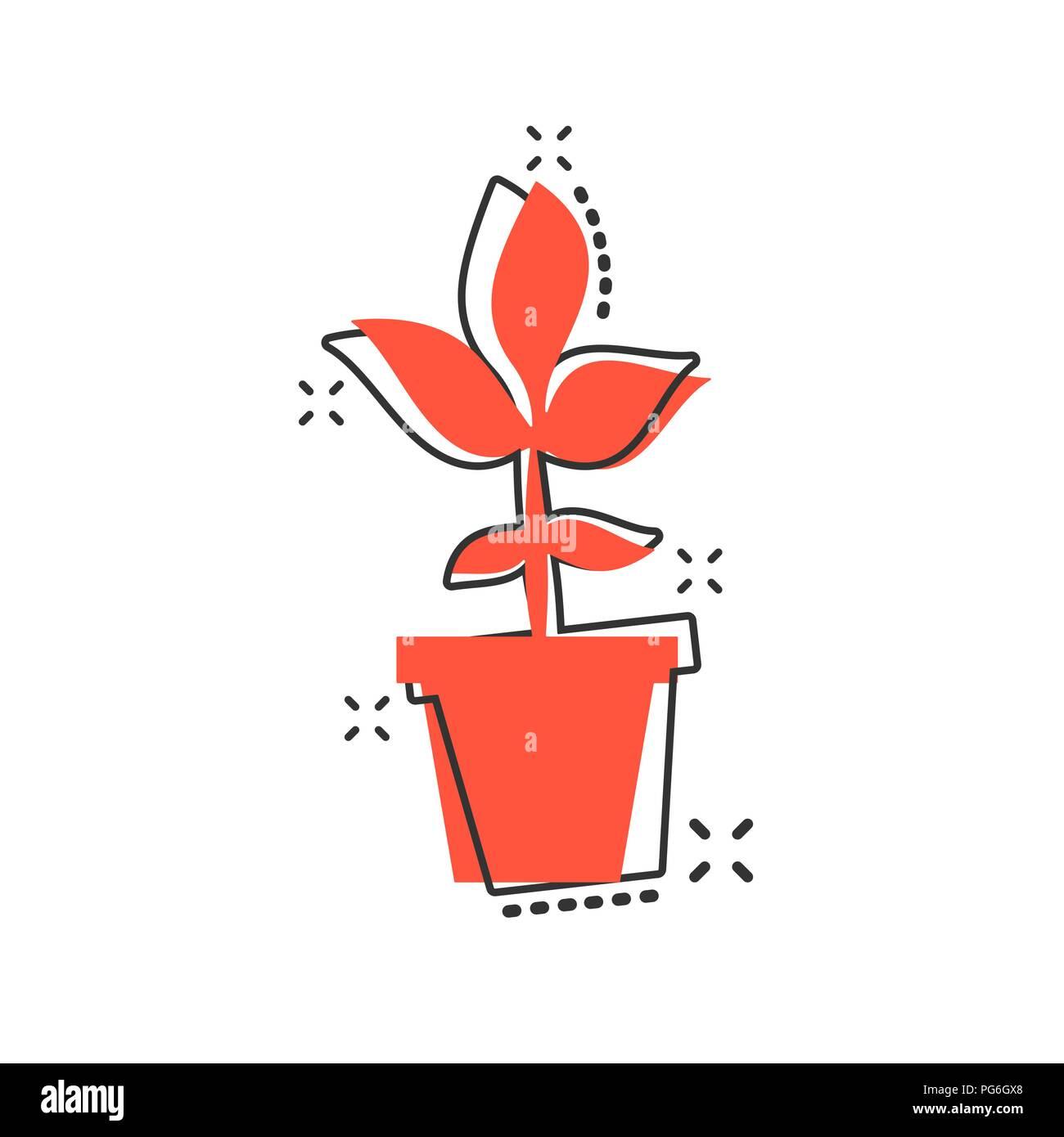 Cartoon Vector Icone Pot De Fleur Dans Le Style Comique Fleurs
