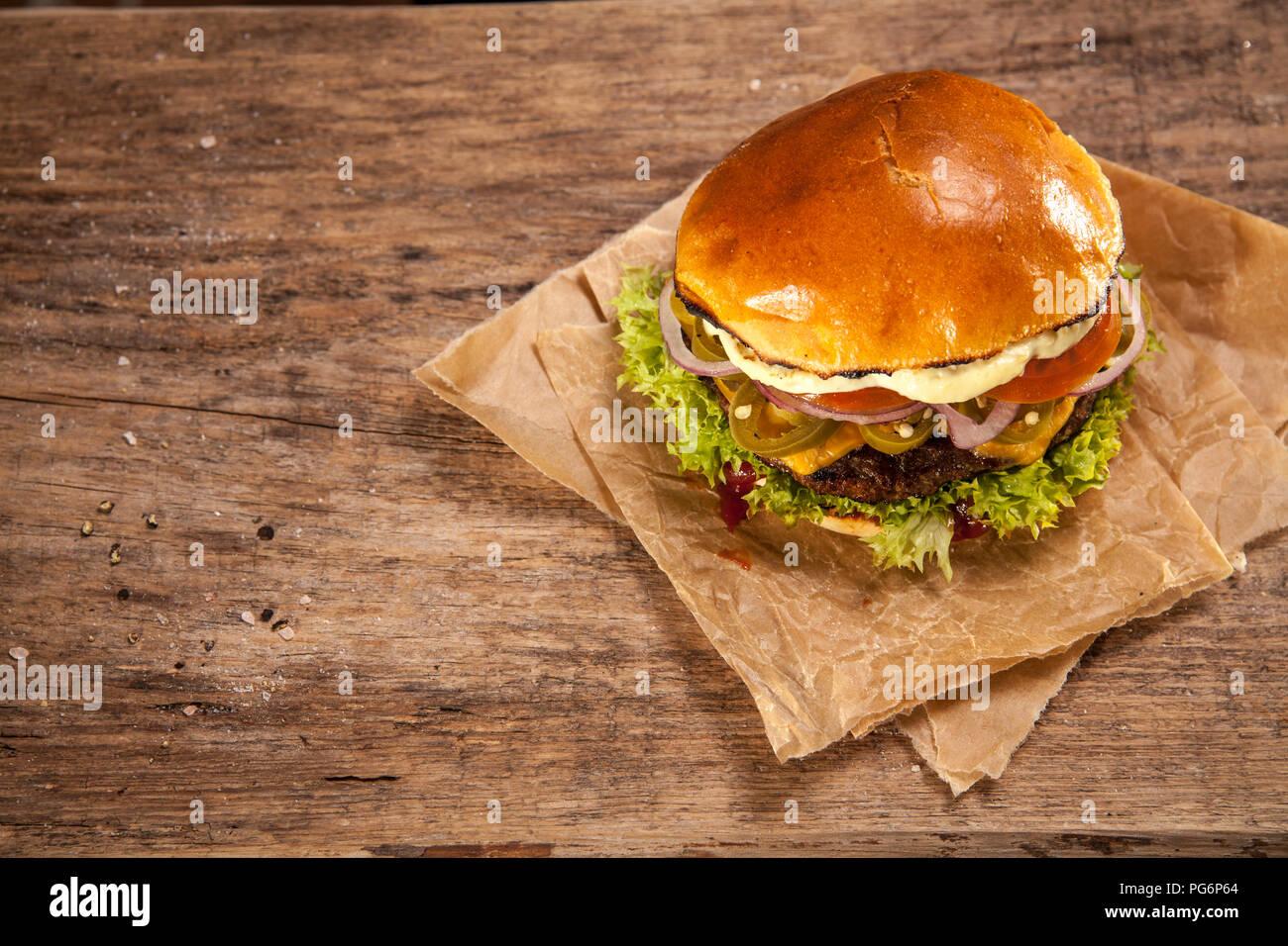Hot Chili Burger, overhead view Photo Stock