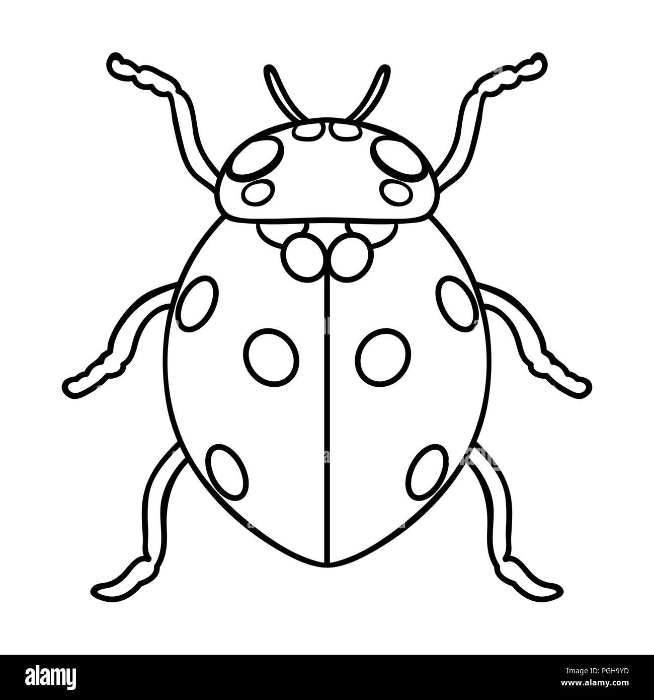 Coccinelle Symbole dans l'icône coccinelle avant-projet isolé sur fond blanc. symbole d