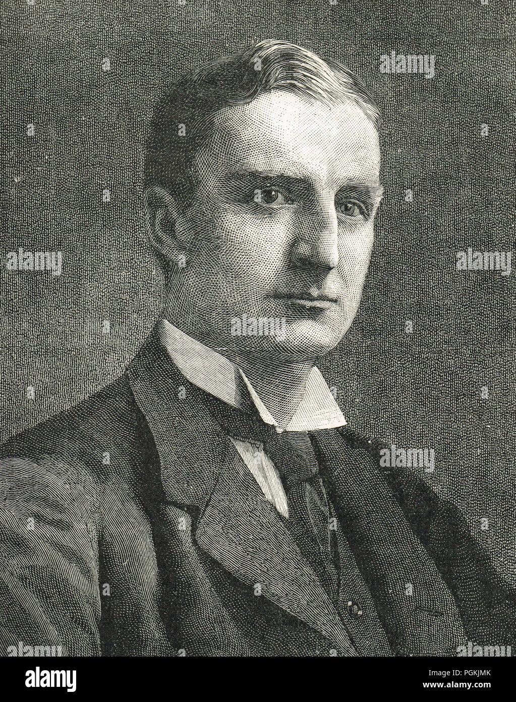 """Sir Edward Grey, le Ministre britannique des affaires étrangères, 1906-16. Célèbre pour sa remarque à un ami à la veille de la Première Guerre mondiale 1 'La lampes s'éteignent dans toute l'Europe, nous ne les voyons pas allumé de nouveau dans notre vie-temps"""" Photo Stock"""