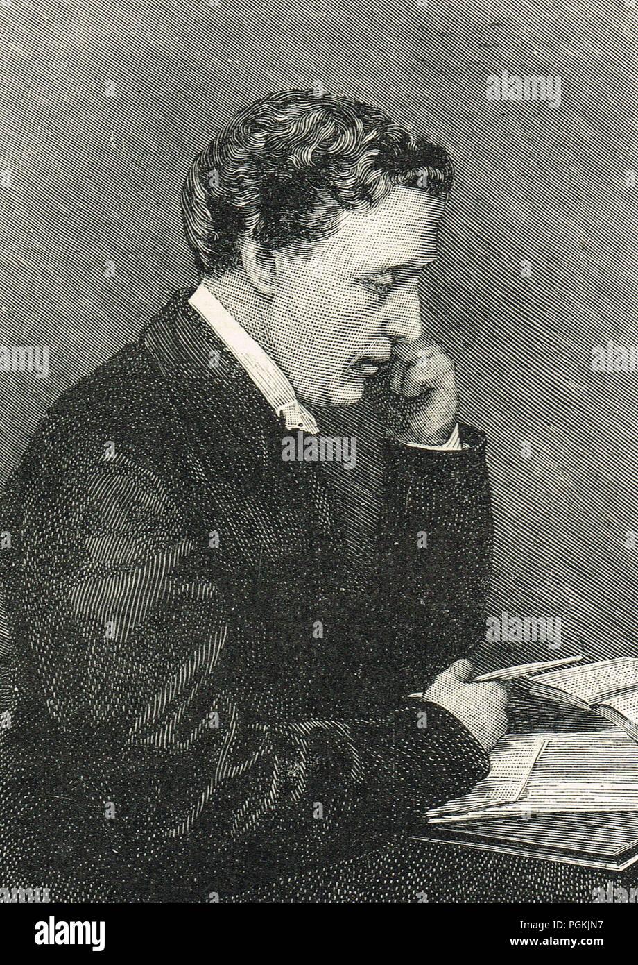 Lewis Carroll, de son vrai nom Charles Lutwidge Dodgson, célèbre pour Alice's Adventures in Wonderland, dans de l'autre côté, et les poèmes, et le Jabberwocky Chasse au Snark Photo Stock